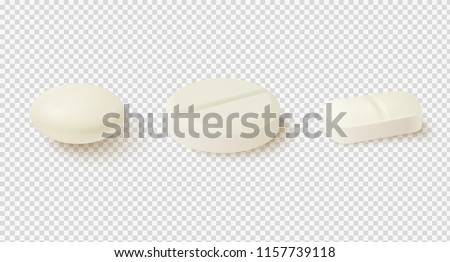Collection of oval, round and capsule shaped tablets. Medicine and drugs. Realistic medical pills isolated on white background. Vector illustration.