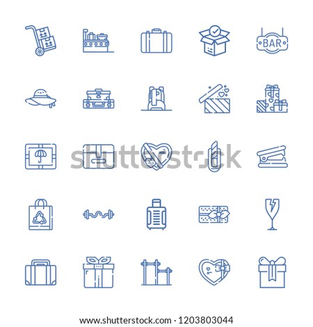 Collection of 25 pack outline icons include icons such as briefcase, fragile, present, paper bag, package, gift, bar, pamela, suitcase, gifts, packs, stapler remover, backpack