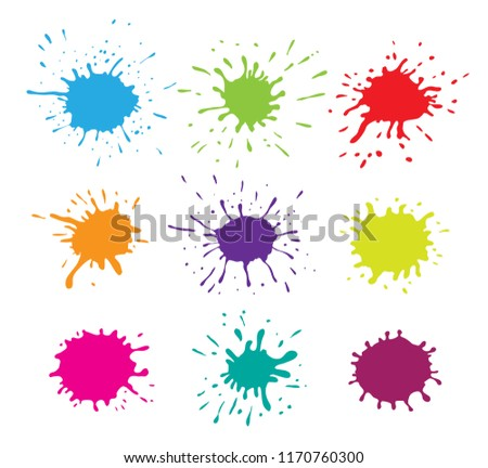 Collection of paint splashes. Vector blots set.