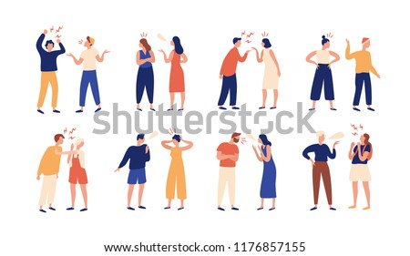 Collection of pairs of people during conflict or disagreement. Set of men and women quarreling, brawling, bickering, shouting at each other. Colorful vector illustration in flat cartoon style.