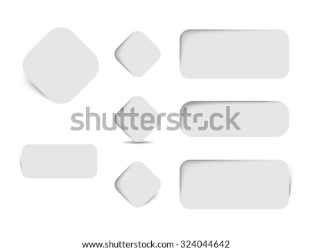 collection of paper tags with rounded corners and shadows #324044642