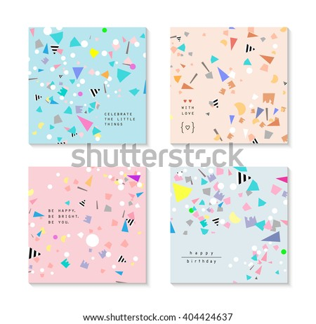 Collection Of Party Cards And Invitations Birthday Backgrounds With Confetti Vector