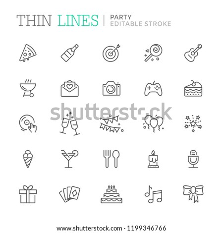 Collection of party related line icons. Editable stroke