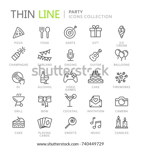 Collection of party thin line icons - Shutterstock ID 740449729