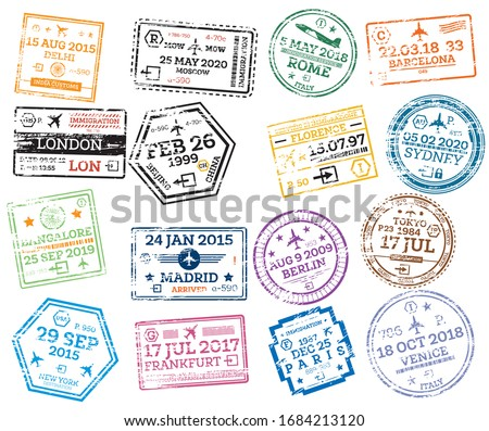 Collection of Passport Stamps Isolated on White. Vector Illustration. Set from Different Countries and Cities. Delhi. London. New York. Moscow. Paris. Barcelona. Rome.