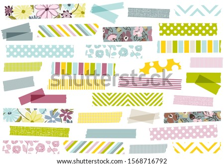 Collection of pastel and floral washi tape strips. Semi-transparent masking tape or adhesive strips for scrapbooking, borders, frames, web graphics, crafts, stickers and more.