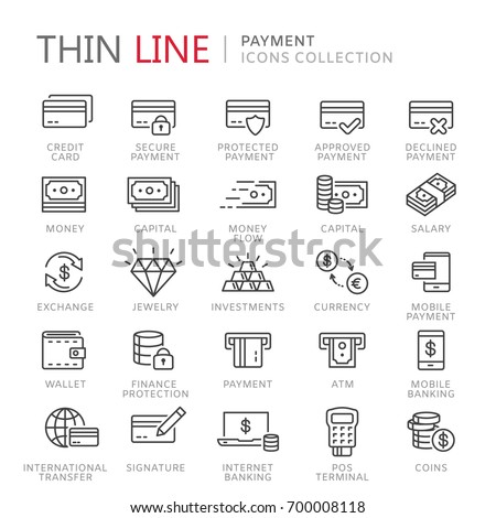 Collection of payment thin line icons