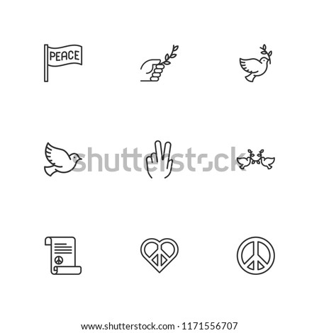 Collection of 9 peace outline icons include icons such as branch, dove, peace, peace treaty, pigeon