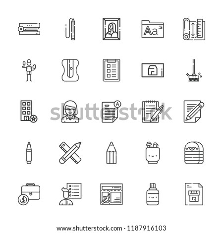 Collection of 25 pencil outline icons include icons such as educator, pen, blueprint, office, stapler, pencil, exam, brush, fonts, notepad, layout, painting, user list