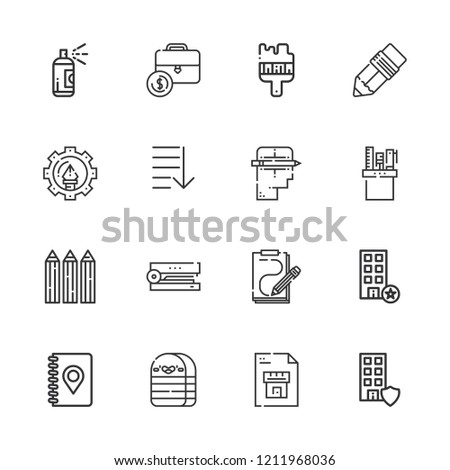 Collection of 16 pencil outline icons include icons such as office, notebook, order, pen, pencil case, creative, graphic design, stapler, pencils, sketch, brush, paint