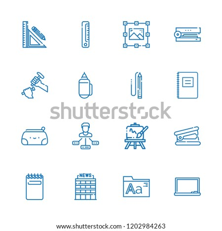 Collection of 16 pencil outline icons include icons such as office, tasks, graphic design, notepad, stapler, blackboard, fonts, easel, sculpture, pencil, stationery