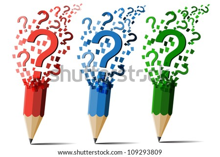 Collection of pencil question marks vector.
