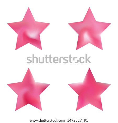 Collection of pentagram colored backgrounds. Neon style of 90th, 80th. Trendy soft color form. Pink eco fluid templates for your poster, presentation, invitation, brochure or cards.