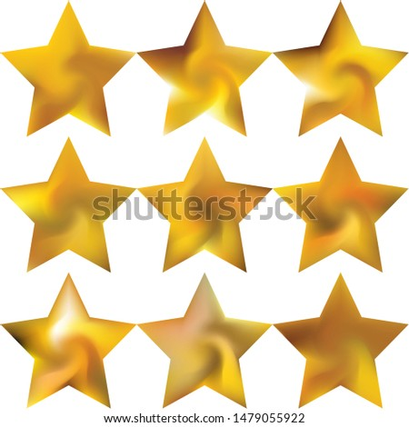 Collection of pentagram smooth backgrounds. Cool style of 90th, 80th. Trendy soft color illustration. Yellow elegant and easy editable colorful fluid covers for your creative projects.