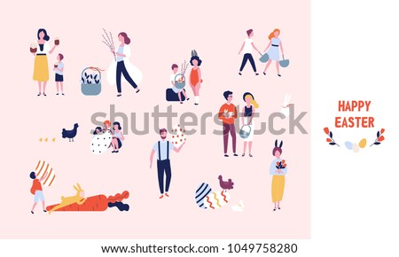 Collection of people carrying large decorated easter eggs, cakes, flowers and pussy willow branches, playing kids dressed in bunny costumes. Bundle of flat cartoon characters. Vector illustration