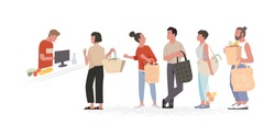 Collection of people carrying shopping eco bags with purchases  in shop. Zero waste. Men and women taking part in seasonal sale at store, shop, mall. Cartoon characters isolated on white background.