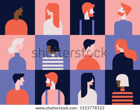 collection of people. color pattern. Set of persons, avatars, people heads of different ethnicity and age in flat style.  Set of flat style avatars of colorful vector icons. Character set of people.