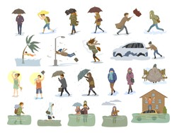 collection of people coping with bad severe meteorological weather conditions disasters cataclysm like extreme heat and cold, hurricane, strong wind snow hail rain storm, tsunami, flood graphic