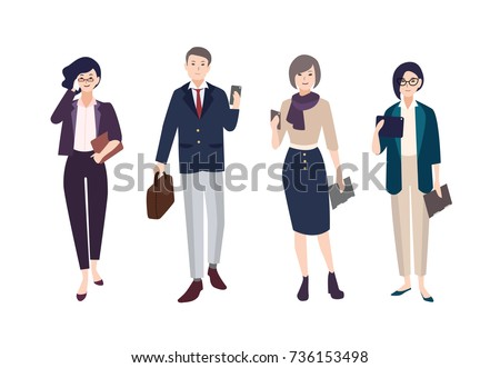 Collection of people dressed in smart clothing. Set of male and female clerks or office workers. Bundle of men and women wearing business clothes with gadgets. Cartoon characters. Vector illustration.