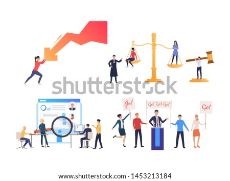 Collection of people of different occupations. Group of lawyers, politicians, business people. Flat colorful vector illustration for project, leaflet, promo