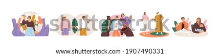 Collection of people setting, protecting and violating personal boundaries during social interaction with family, friends and colleagues. Colored flat vector illustration isolated on white background Foto d'archivio ©