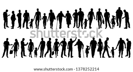 Collection of people silhouettes. Set of different human silhouettes isolated on white background. Vector illustration