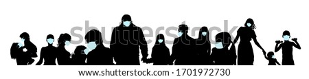 Collection of people silhouettes wearing medical masks preventing air pollution and virus , vector illustration
