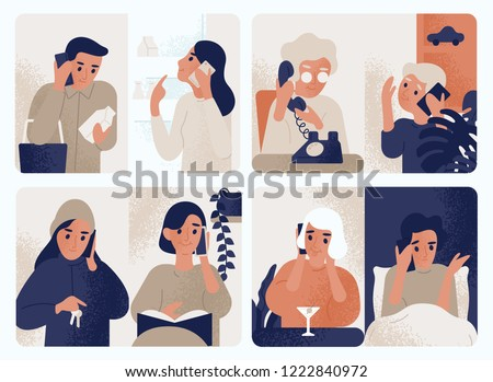 Collection of people talking on mobile phone. Bundle of men and women communicating through smartphone. Set of telephone conversations or dialogues. Color vector illustration in modern flat style.