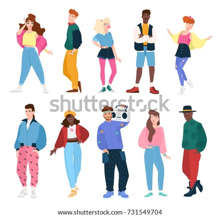 Collection of people wearing trendy clothes in 80s style. Set of young fashionable men and women dressed in 80-s outfits. Flat cartoon characters isolated on white background. Vector illustration.