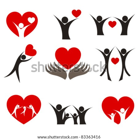 Collection of people with hearts - couple, family and health concepts. Vector illustration