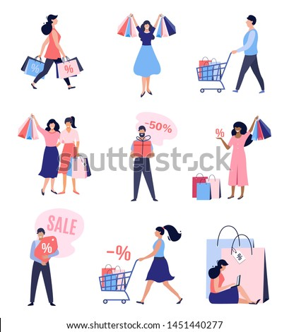 Collection of people with Shopping Bags and Carts. Big sale, up to 50%  Discount, Advertising Banner, promo Poster. Vector illustration.