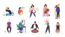 Collection of people with various addictions. Bundle of male and female cartoon characters with different addictive disorders isolated on white background. Colorful vector illustration in flat style