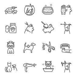 Collection of pet care line icon vector illustration. Set of different lineart veterinary sign with domestic animals reptiles and fishes grooming washing medicine isolated on white background