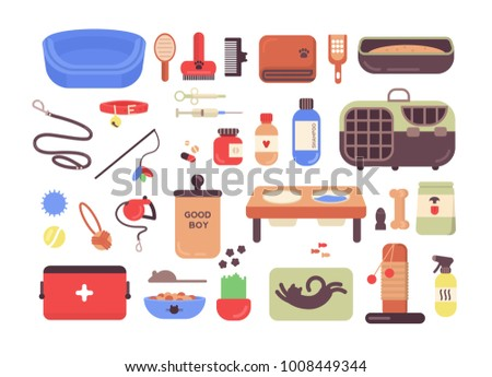 Collection of pet shop goods for cats and dogs isolated on white background. Set of items for domestic animals care, treatment, grooming, entertainment, feeding. Colorful flat vector illustration.