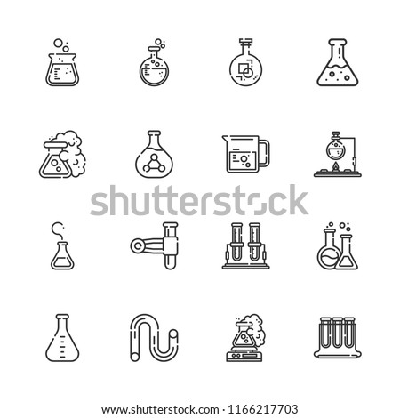 Collection of 16 pharmacology outline icons include icons such as test tube, flask, tube, beaker
