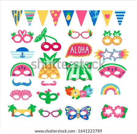 Collection of photo booth props for kids tropical party. Cute vector cartoon masks, eye glasses, flags and elements for funny summer photos.