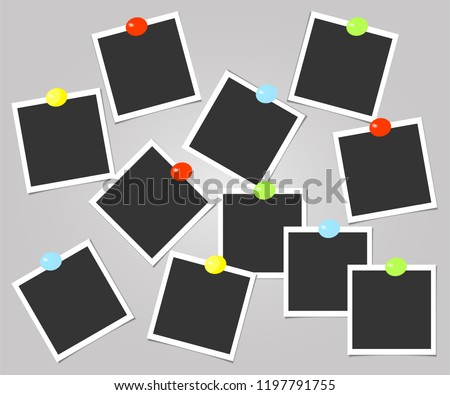 Collection of photo frame with color pins. Polaroid vector. Template. Vector illustration