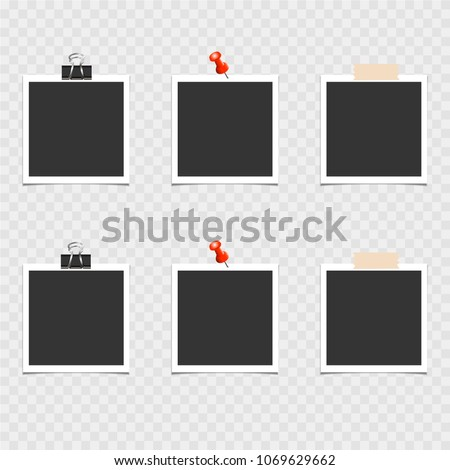 Collection of photo frame with pin and adhesive tape on gray background. Template, blank. Vector illustration
