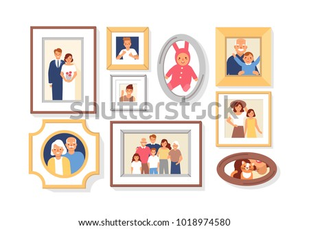 Collection of photos of family members or relatives and events in frames. Bundle of framed wall pictures or photographs with smiling people depicted on them. Colorful cartoon vector illustration.