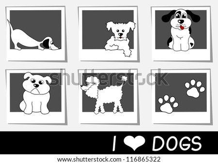 collection of photos with cartoon dogs vector illustration