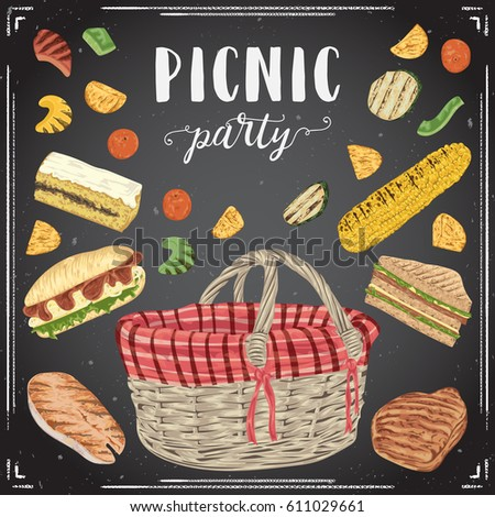 Collection of picnic food on chalkboard. Grill meat, fish, vegetables, sandwiches, corn, fruits,cake and basket. Isolated elements. Design concept for picnic or barbecue party. Vector illustration
