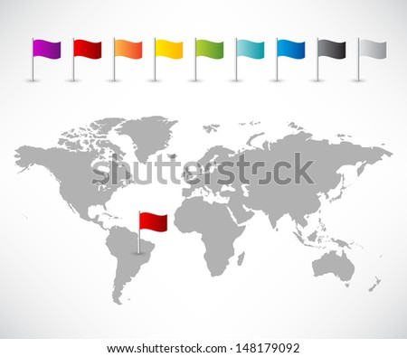 Collection of pin flag icons with world map
