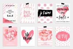 Collection of pink, black, white colored Valentine's day card, sale and other flyer templates with lettering.  Typography poster, card, label, banner design set. Vector illustration EPS10