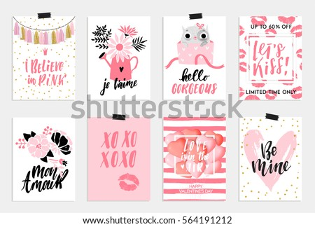 Collection of pink, black, white colored Valentine's day card,World kiss day sale and other flyer templates with lettering. Typography poster, card, label, banner design set. Vector illustration EPS10 #564191212