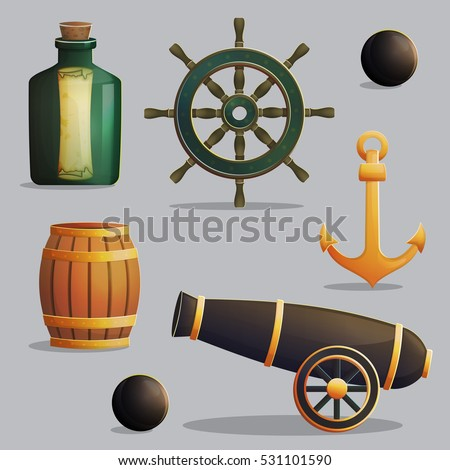 collection of pirate items for