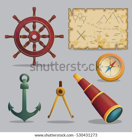 Collection of pirate items for treasure hunting journey and navigation. Accessories for treasure hunting journey, vessel parts, compass, ancient map, spyglass. Game and app ui icons.