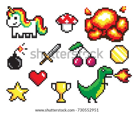 Collection of pixel objects used in games, heart and star, coin and sword, bomb and explosion, dinosaur and unicorn vector illustration
