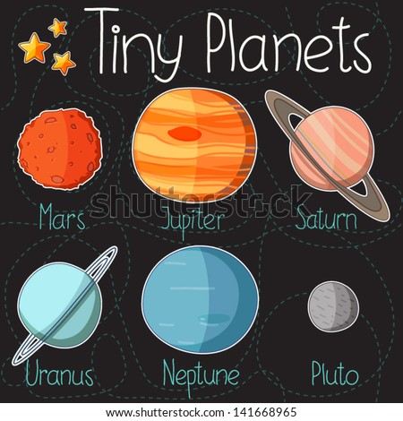 Collection of planet stickers form Mars to Pluto. Cartoon planet icons. Kid's elements for scrap-booking. Childish background. Hand drawn vector illustration.