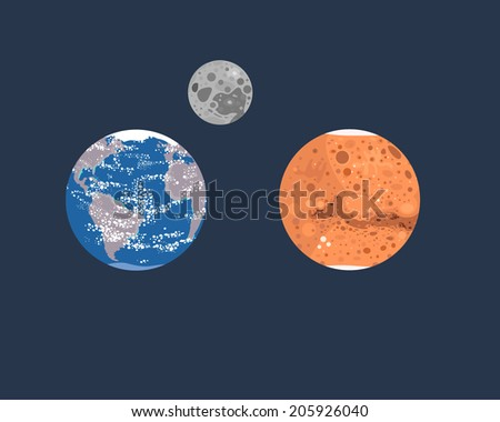 Collection of planets: Earth, Moon and Mars