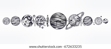 Collection of planets in solar system. Dotwork set. Engraving style. Vintage elegant science set. Sacred geometry, magic, esoteric philosophies, tattoo, art. Isolated vector illustration. - Shutterstock ID 672633235